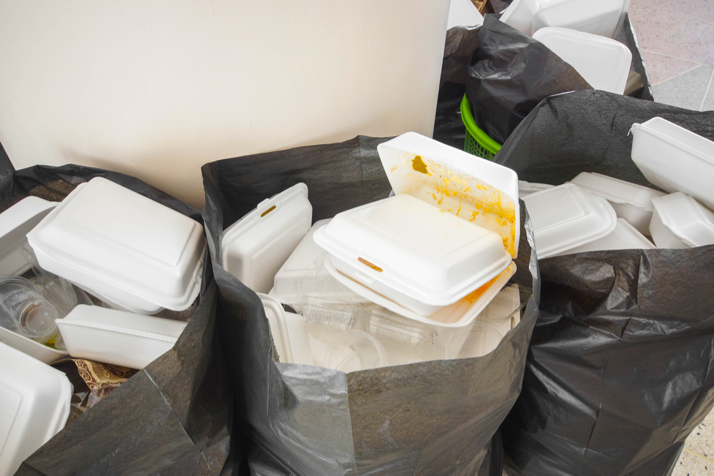 Bin bags filled with polystyrene takeaway boxes