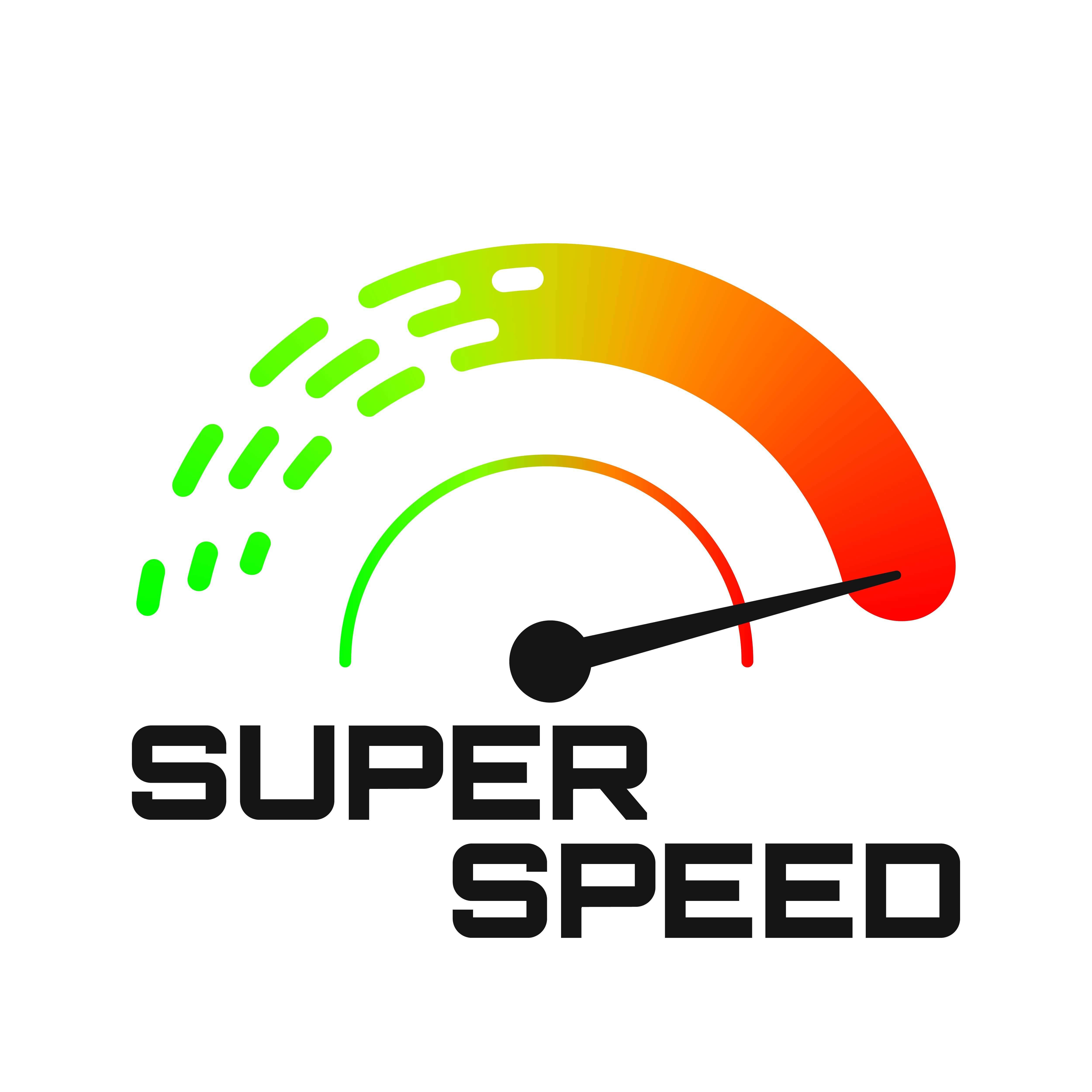 A car speedometer with the arrow showing high speed