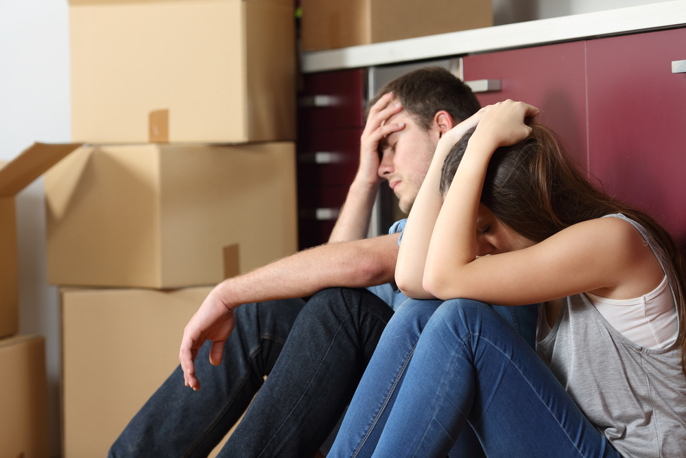 Couple stressed about being evicted due to rent or mortgage arrears